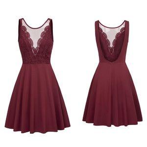 Maroon grace karin lace party dress